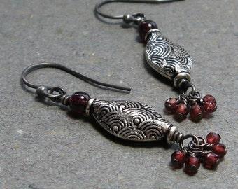 Garnet Earrings January Birthstone Textured Sterling Silver Gemstone Cluster Oxidized Earrings