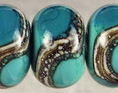 Teal Green Lampwork Glass Bead Set, Rondelle Glass Beads, Lampwork Beads, Organic Webbed Silvered Ivory, Small, 6 Glossy 11x7mm Mermaid