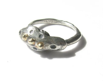 Antiqued Sterling Silver Abstract Ring with 14k Gold Balls, Size 5.