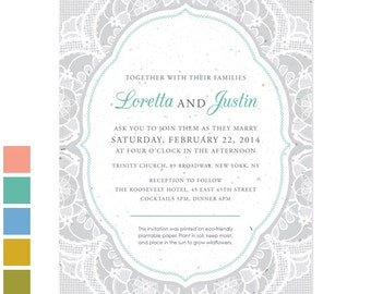 25 Romantic Lace Plantable Wedding Invitations