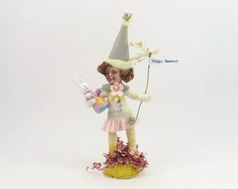 READY TO SHIP Vintage Inspired Spun Cotton Miss April Easter Figure Ooak