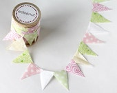 Baby shower pastel colors Cake Bunting. fabric mini Ribbon. Cake toper and invitation addition.