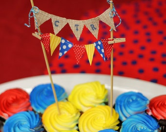 Custom cake bunting, Double strand cake skewers. Birthday cake topper, red yellow blue Primary colors party, cake top boys, baby shower