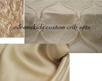 Custom Crib Bedding Set Neutrals for Baby Girl or Boys