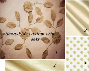 Custom Crib  Set Luxury  All Neutral with Gold  Ivory and Champagne colors with Sheer Floral overlay
