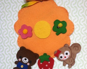 Vintage and Kawaii Inspired Happy Garden Hanger cute with Flowers, Teddy Bear and Squirrel Kitschy Colorful