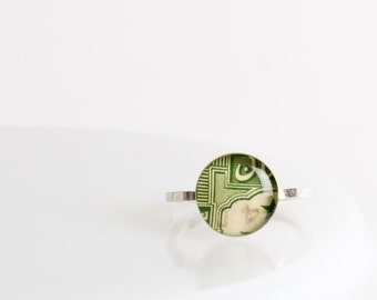 Ring | Postage stamp | Pakistan | Green | Small | Size 6