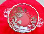 New Martinsville two Handled Small bowl Flanders Poppies Silver Overlay