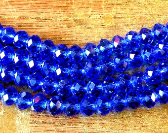 Sapphire Blue Crystal Beads 6x8mm Blue Crystal Beads (70)