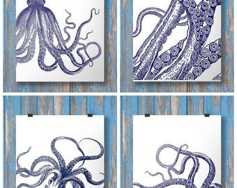 Octopus prints - Navy blue coastal beach Nautical - Set of four - Navy blue Printable wall art