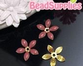 FG-EX-08001DM- Nickel Free, Lead Free, Color epoxy, 5-leaf beads cap, dusty maroon, 6 pcs