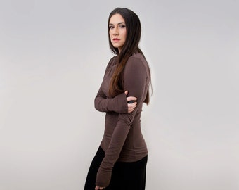Super Long Sleeve • Boatneck Shirt • Women Close Fit Tops • High Neckline • Loft 415 Clothing (No. 214)