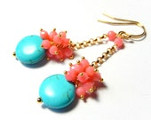 Coral Earrings, Turquoise Peach Pink Cluster Dangles, Gold Chain Earrings