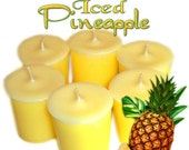 6 Iced Pineapple Votive Candles Fresh Tropical Fruit Scent