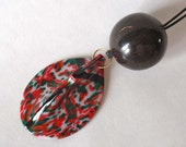 Tribal Pendant Necklace: Polymer Clay, upcycled horn bead, black, red, green, copper, white