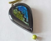Abstract Leaf Pendant Necklace: Faux Dichroic Glass, Polymer clay, Blue, Green, Black, high gloss