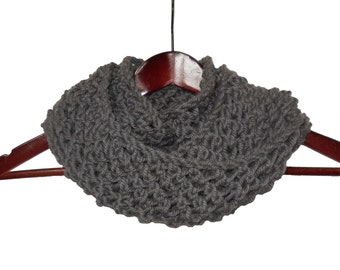Infinity Loop Gray Wool and Alpaca Scarf - Warm Hand Knit Moebius