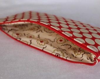 Pencil Case Cosmetic Bag Gadget Case Zipper Pouch Amy Butler Pink Polka Dots