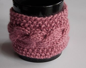 knitted cabled coffee cuff mug cup cozy cover dusty rose pink