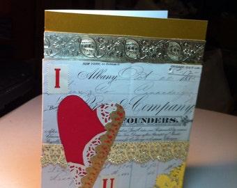 Handmade blank Valentines card