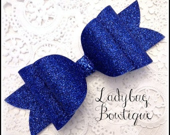 Wool Felt Glitter Hair Bow ~ Super Sparkle ~ Royal Blue ~ Headband Clip or Barrette  Custom Choice ~ Large ~ Patriotic Holiday School Spirit