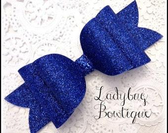 Wool Felt Glitter Hair Bow ~ Super Sparkle ~ Royal Blue ~ Headband Clip or Barrette  Custom Choice ~ Large ~ Patriotic Holiday School Spirit