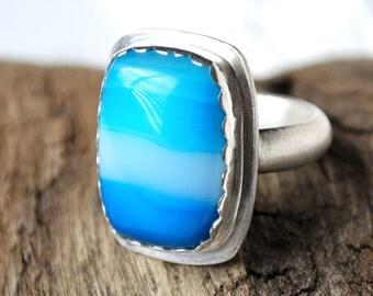 Blue Banded Agate in Sterling Silver Ring Size 6 Large 16x21mm Bezel Set Gemstone Cocktail Ring in Teal Blue Brushed Satin .925