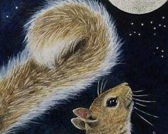 Squirrel Full Moon Art Melody Lea Lamb ACEO Print #345