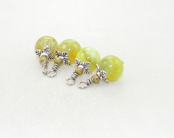 4 Handmade dyed lime fired agate beaded dangle drop charms, hand wrapped beads, earrings