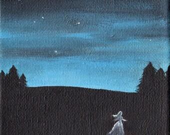 The Night Dances #2 Nocturnal landscape  Acrylic painting  4 x 4
