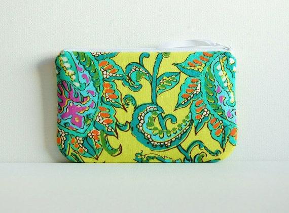 Medium Zipper Pouch Makeup Bag Cosmetic Case Dancing Paisley in Lemon Amy Butler