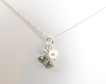 Sterling Silver Double Hearts and Fresh Water Pearl Pendant  Christian Necklace on Fine Rope Chain w Cross - Faith, Hope and Love Collection