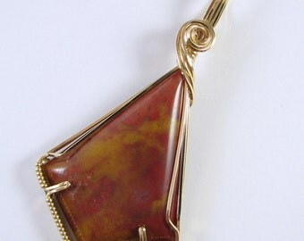 Large Moss Agate 14k Gold Filled Handmade Wire Wrapped Pendant