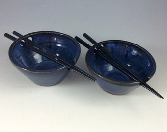 Set of Two Coblat Blue Rice Bowls with Chopstick Rest Wheel Thrown Pottery