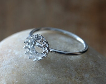 Gallery Bezel Crown Setting Ring • 8 mm Round  • Sterling Silver • Ready to be Set with Your Own Stone • Supplies • Ring Blank • Empty Ring