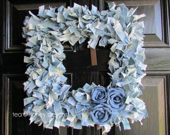 Denim Rag Wreath Flowers Rustic Decor Upcycled Square 16""