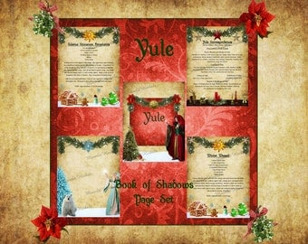 Yule Digital Book of Shadows Pages - Set of 5 - Witch's Grimoire, Winter Solstice, Sabbat, Kitchen Witch Recipe, Midwinter, Pagan, Wicca