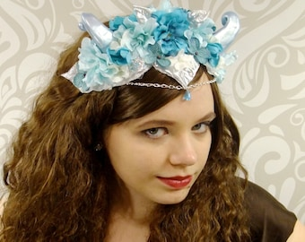 Ice Queen Horned Headdress, Horned Headpiece, Maenad, Satyr, Faun, Faery Headdress, Titania, Silver Flower Crown, Fantasy, Cosplay, Horns
