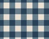 Folk Plaid - Wild & Free Collection by Maureen Cracknell - Art Gallery Fabrics - Navy Blue Checks - Premium Quilting Fabric 1 Yard Fabric