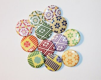 12 Origami Pin Back Buttons -1.25in