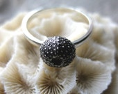 tiny seashell ring SEA URCHIN sterling silver mermaid stacking ring Made to Order