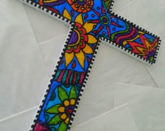 Large hand painted gorgeous CROSS wall hanging Easter