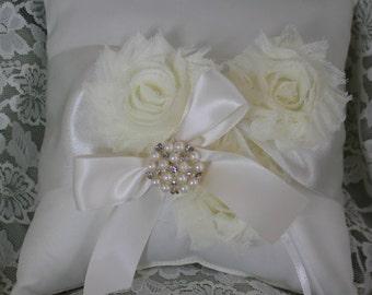 Cream Ring Bearer Pillow Shabby Chic trim Rhinestone and Pearls