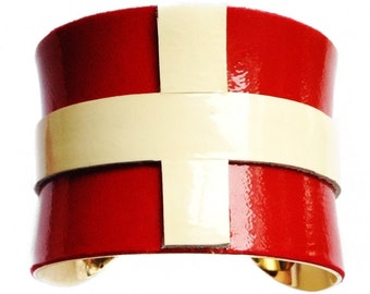 Red and Ivory Patent Leather Gold Lined Cuff Bracelet - by UNEARTHED