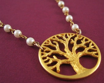 Gold Tree of Life Necklace with Pearls Tree Necklace Modern Jewelry Last Minute Gift under 100