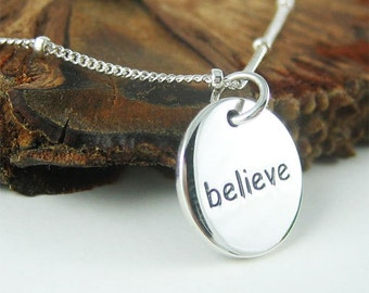Silver Word Necklace Modern Jewelry Graduation Gift for Her on Sale Message Necklace Everyday Necklace