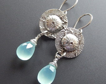 Silver Earrings, Sea Urchin Fine and Sterling Silver with Luminous Caribbean Blue Chalcedony Faceted Briolettes