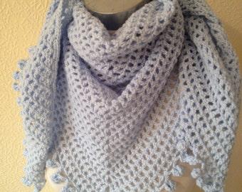 CROCHET SHAWL/WRAP/Crochet Shawl-Wrap-Fichu-Scarf-Neckwear-Evening Wear-Prom/ -Ice Blue- Ready to Ship - Reduced