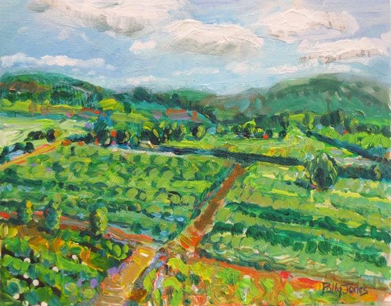 Patchwork Italy original acrylic mixed media landscape painting by Polly Jones