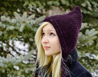 Instant Download Knitting Pattern - Knit Hat Pattern Signature Pixiebell Pixie Hat Pattern - Womens Hat Pattern Womens Accessories